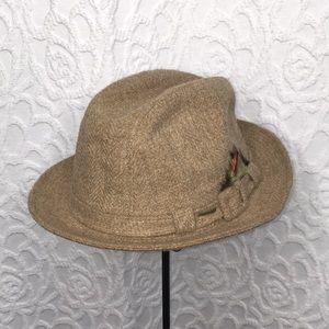 Vintage Stetson Wool Tweed Snap Brim Fedora Hat
